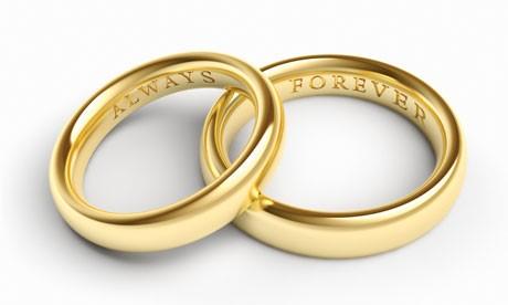 Par de alianças de casamento